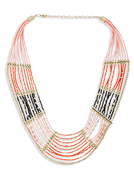Peach N Black Beads Layered Necklace