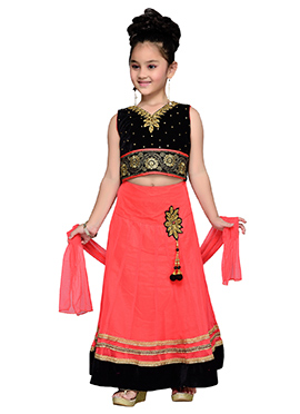 Peach N Black Teens Lehenga Choli