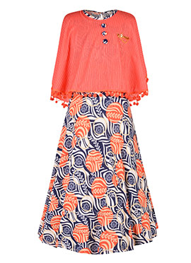 Peach N Blue Lycra Kids Gown