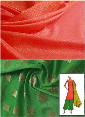 Peach N Burnt Green Long Kurta Palazzo Suit