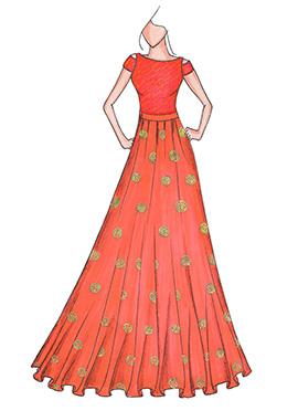 Peach N Burnt Orange Highwaisted Skirt N Crop Top