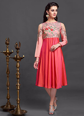 Peach N Dual Toned Nylon Silk Kurti