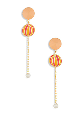 Peach N Golden Colored Self Designed Danglers