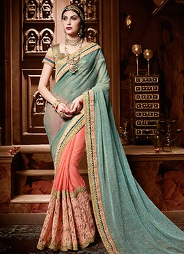 Peach N Green Half N Half Saree
