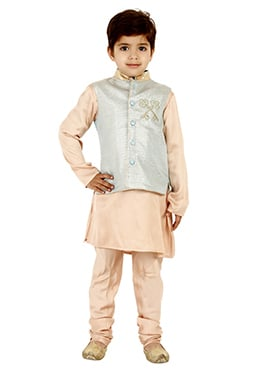 Peach N Grey Brocade Kids Bandi Set