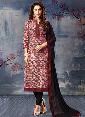 Peach N Grey Silk Cotton Churidar Suit