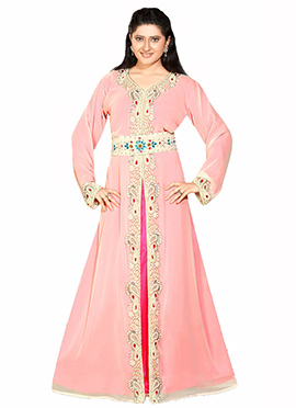 Peach N Magenta Embellished Center Slit Fustan