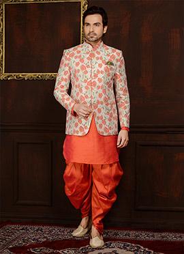 Peach N Off White Art Benarasi Silk Achkan Sherwani