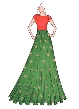 Peach N Olive Green Highwaisted Skirt N Crop Top