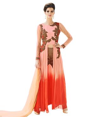 Peach N Orange Anarkali Suit