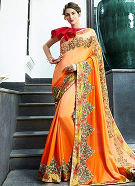 Peach N Orange Dual Tone Embroidered Saree