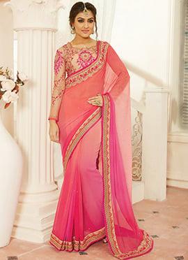 Peach N Pink Chiffon Saree