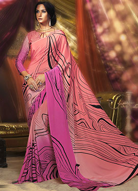 Peach N Pink Crepe Saree