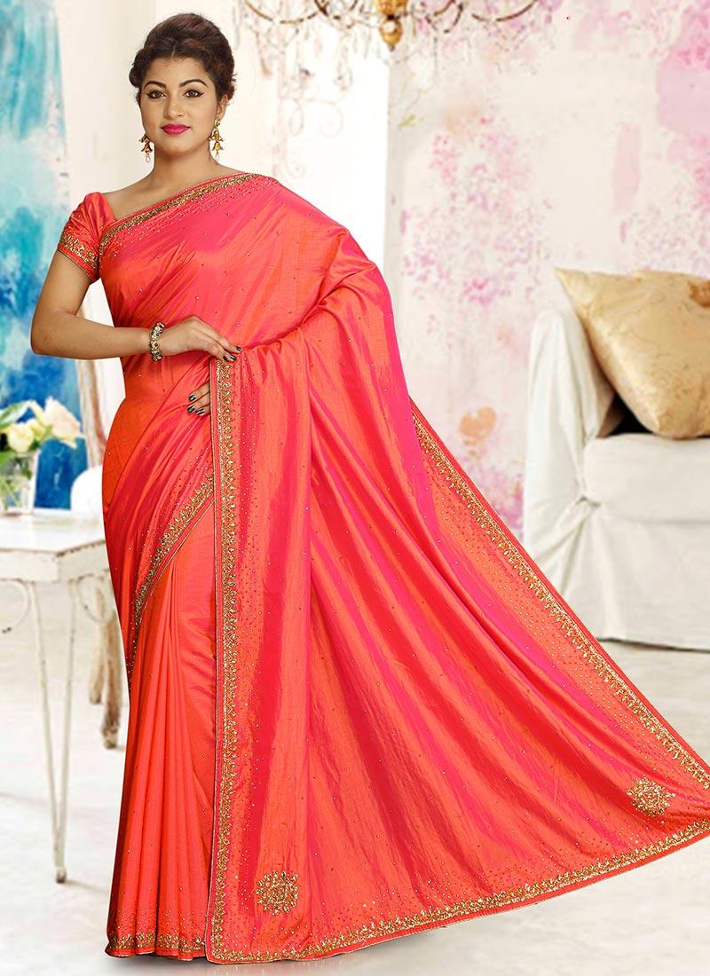 50db54506587f Buy Peach N Pink Dual Tone Art Silk Saree