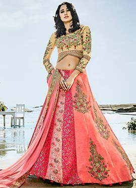 Peach N Pink Floral Embroidered A Line Lehenga