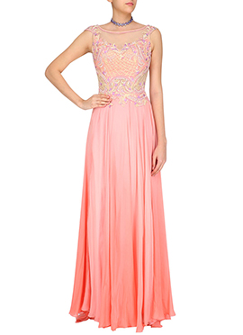 Peach N Pink Georgette Anarkali Gown
