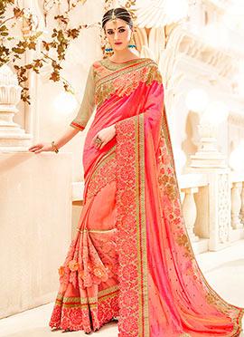 Peach N Pink Half N Half Saree