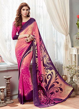 Peach N Pink Ombre Printed Saree