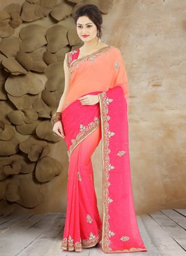 Peach N Pink Pure Georgette Saree