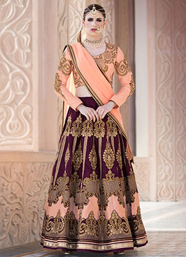 Peach N Purple Art Silk Umbrella Lehenga