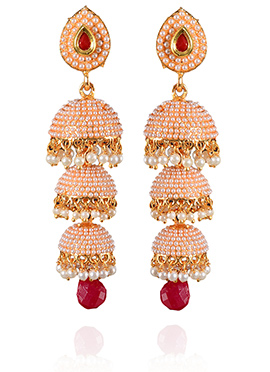 Peach N Red Beads Jhumka Earrings