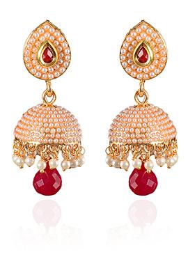 Peach N Red Beads Jhumka Earrings