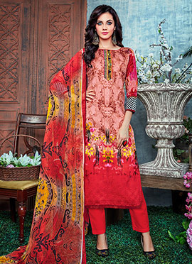 Peach N Red Cotton Straight Pant Suit