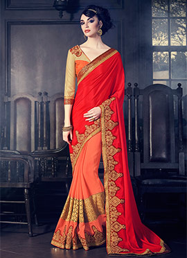 Peach N Red Half N Half Saree