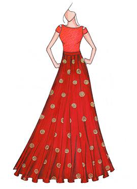 Peach N Red Highwaisted Skirt N Crop Top