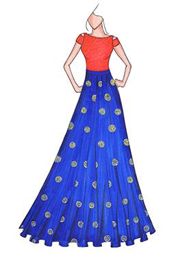 Peach N Royal Blue Highwaisted Skirt N Crop Top