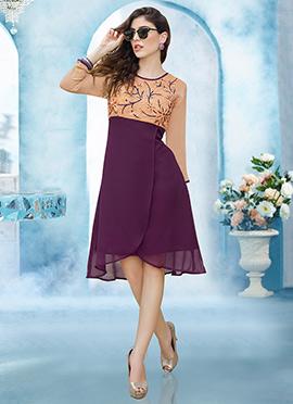 Peach N Purple Georgette Dress