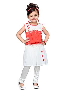 Peach N White Georgette Kids Indowestern Set