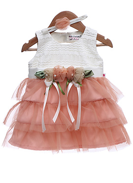 Peach N White Net Kids Dress