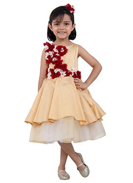 Peach N White Tafetta Kids Dress