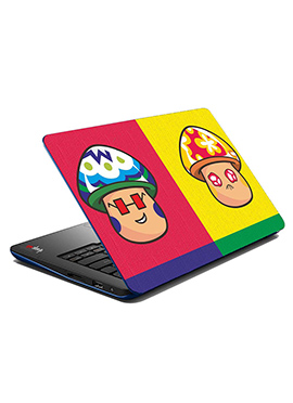 Pink N Yellow Boy Girl Face Laptop Skin