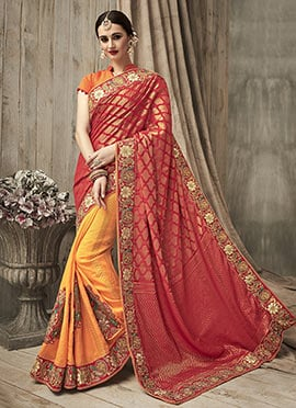 Red N Yellow Half N Half Saree