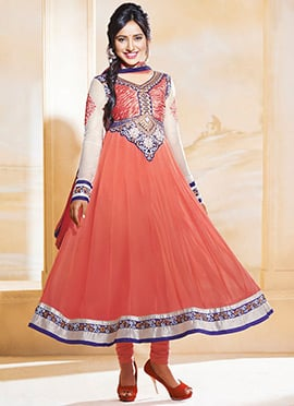 Peach Neha Sharma Ankle Length Anarkali Suit