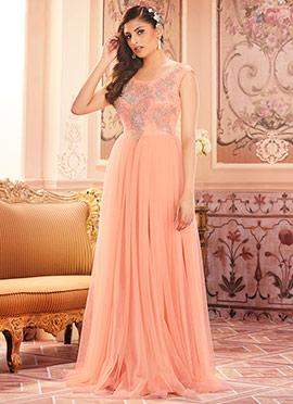 Peach Net Anarkali Gown