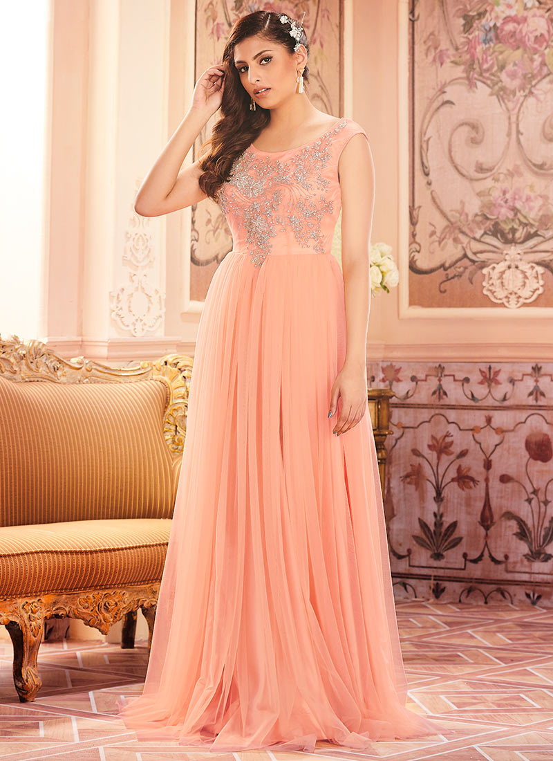 Buy Peach Net Anarkali Gown, Embroidered, dresses and gown Online ...