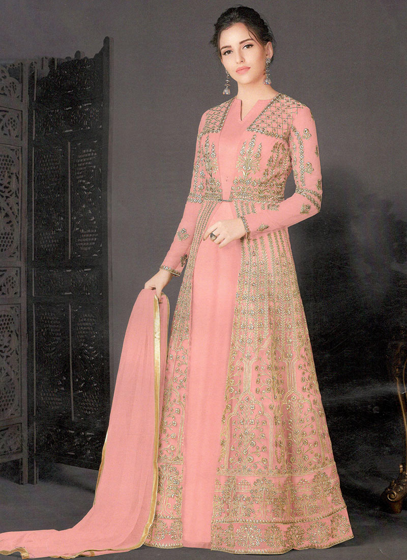 Buy Peach Net Anarkali Gown Embroidered Dresses And Gown Online