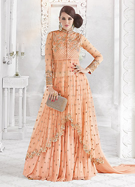 Peach Net Georgette Umbrella Lehenga