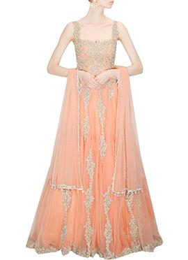 Peach Net Gown