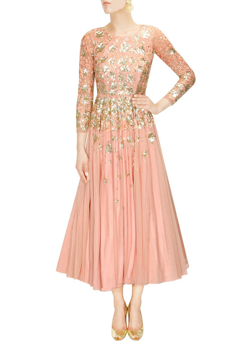 Buy Peach Net Indowestern Maxi dress, dresses-and-gown Online ...