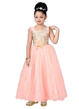Peach Net Kids Anarkali Gown