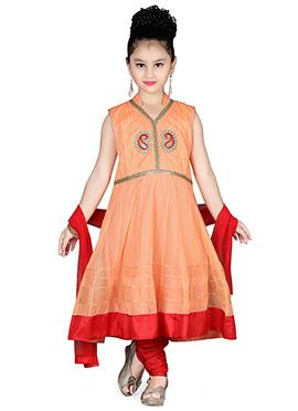 Peach Net Kids Anarkali Suit