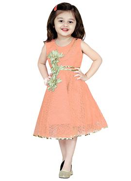 Peach Net Kids Dress