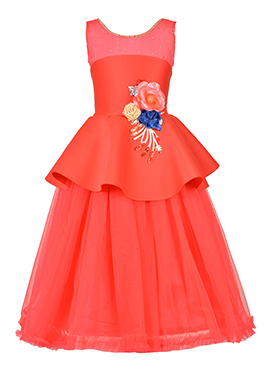 Peach Net Kids Gown