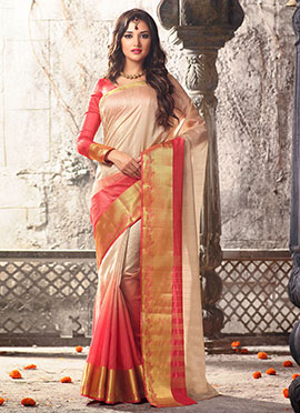 Pink and beige Ombre Uppada Silk Saree