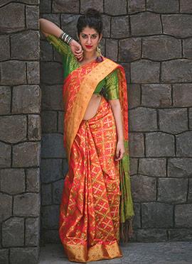 Peach Patola Silk Saree