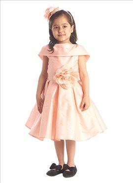 Peach Pink Taffeta Kids Dress